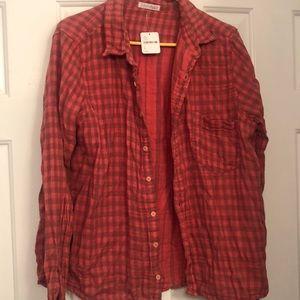 FREE PEOPLE - NWT orange/brown flannel